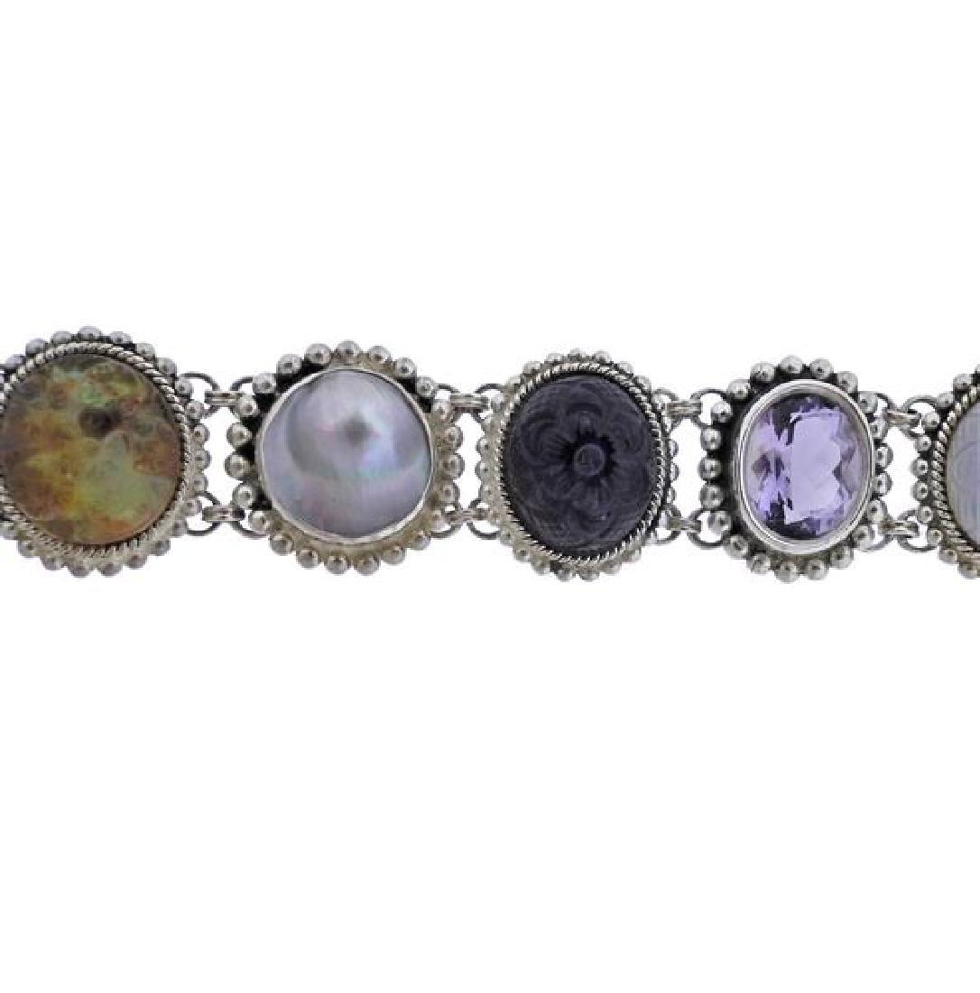 Stephen Dweck Sterling Multi Gemstone Toggle Bracelet - 3