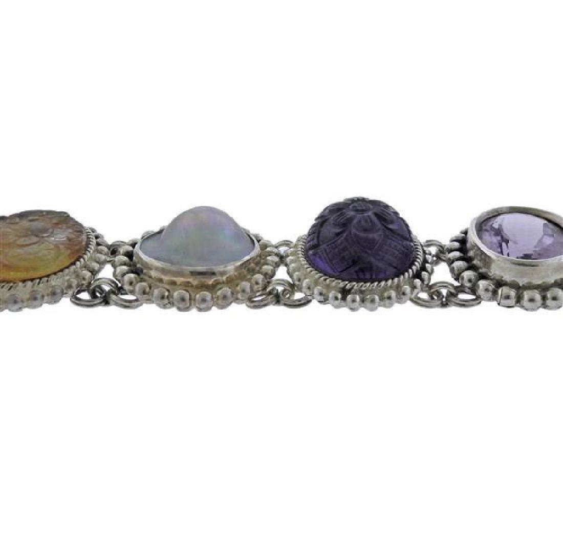 Stephen Dweck Sterling Multi Gemstone Toggle Bracelet - 4