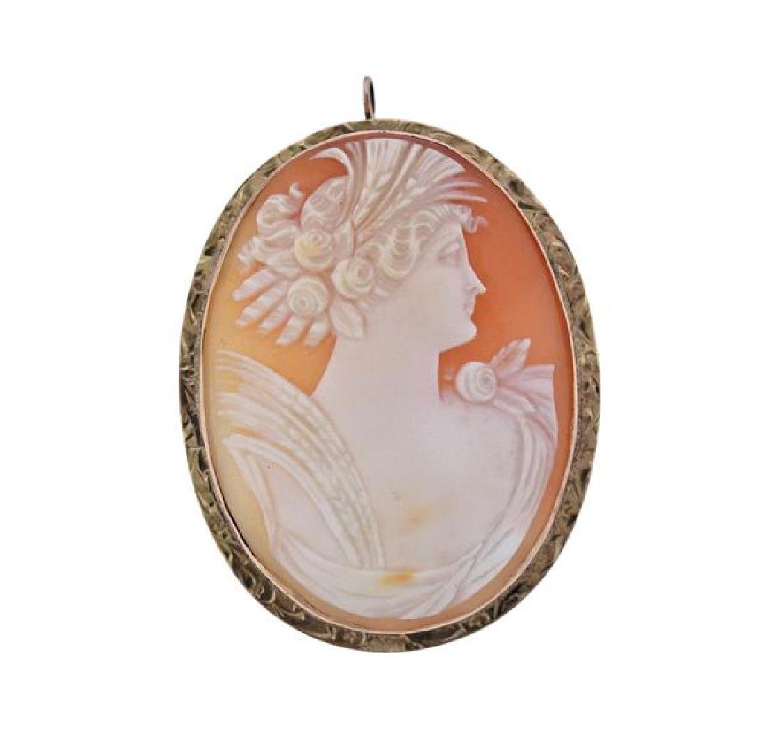 Antique 10k Gold Shell Cameo Brooch Pendant