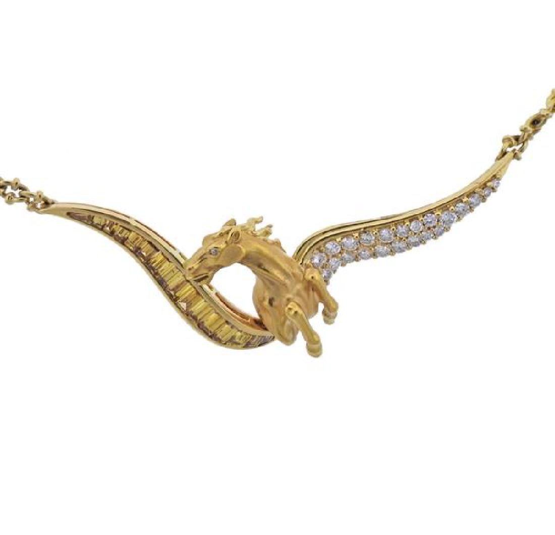 18k Gold Diamond Horse Pendant Necklace - 2