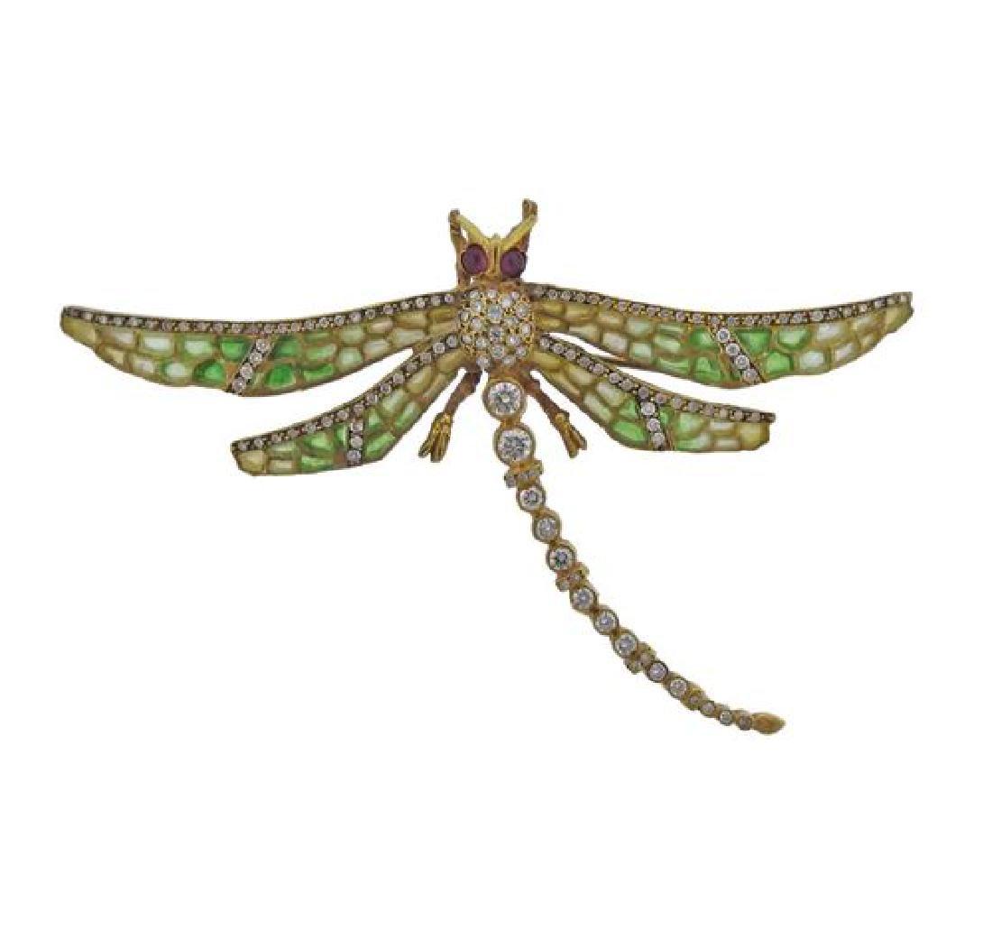 18k Gold Diamond Enamel Dragonfly Brooch Pendant