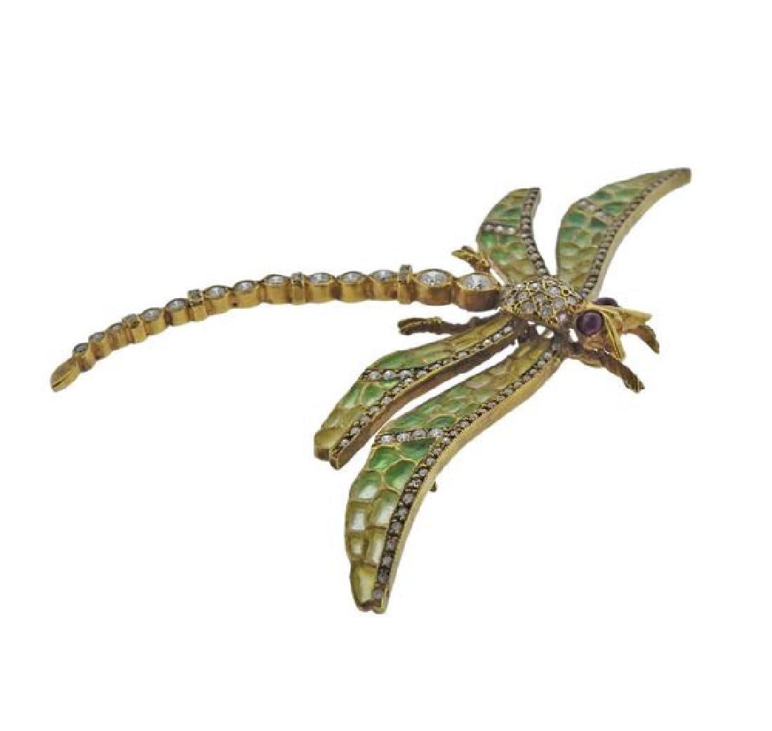 18k Gold Diamond Enamel Dragonfly Brooch Pendant - 2