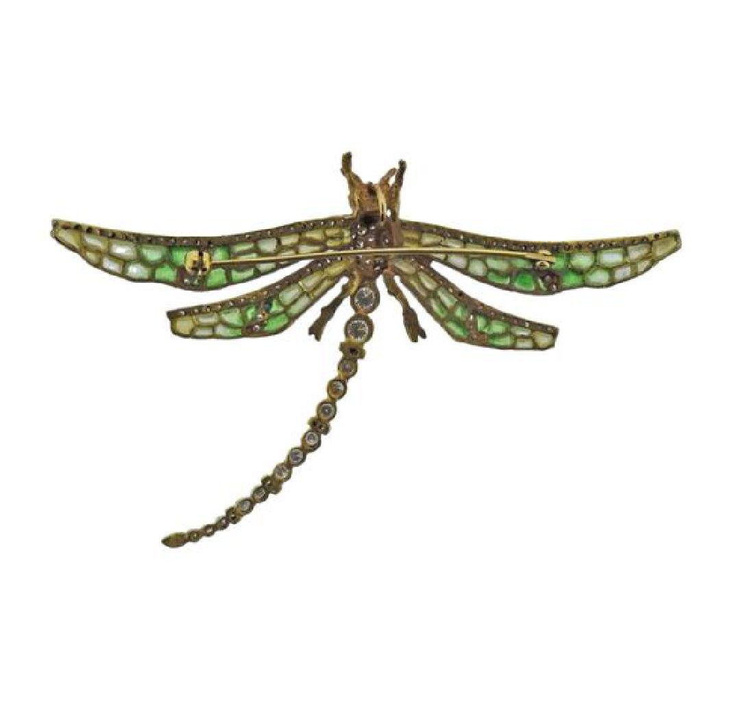 18k Gold Diamond Enamel Dragonfly Brooch Pendant - 4