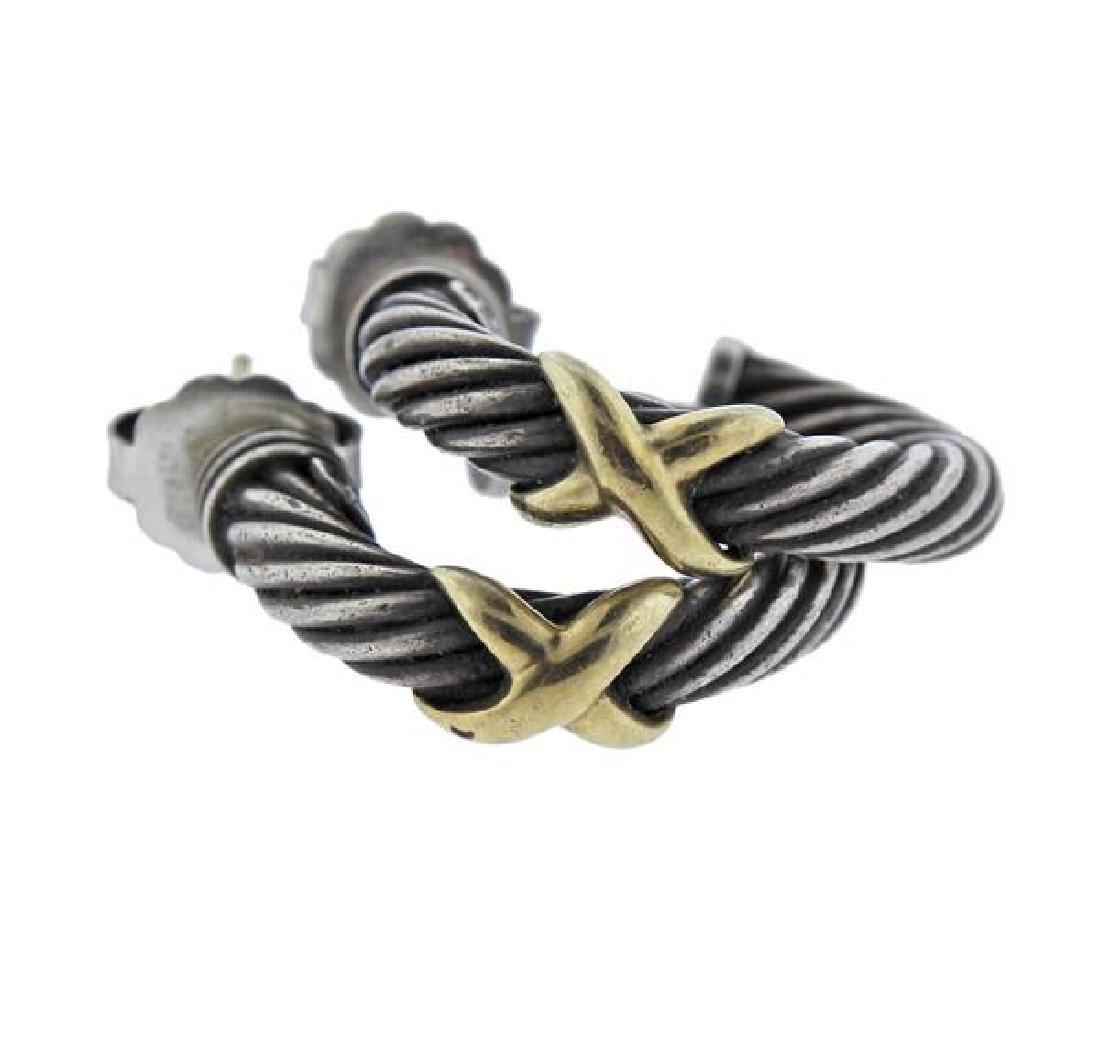 David Yurman 14K Gold Sterling  X Cable Hoop Earrings