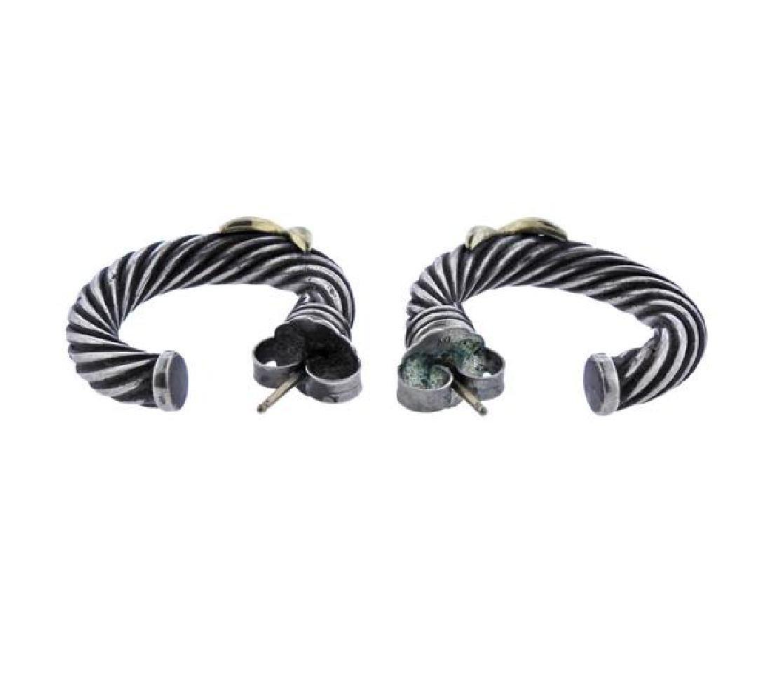 David Yurman 14K Gold Sterling  X Cable Hoop Earrings - 3
