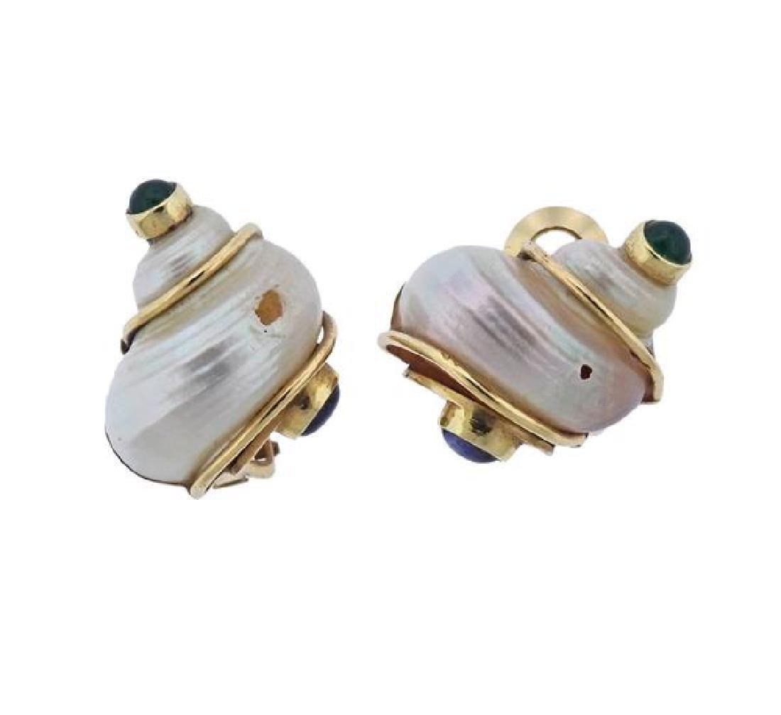Seaman Schepps 14k Gold Shell Gemstone Earrings