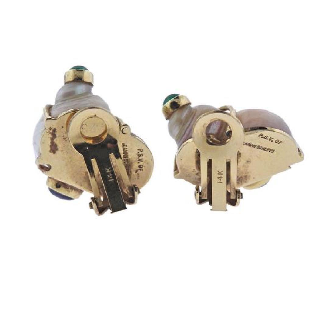 Seaman Schepps 14k Gold Shell Gemstone Earrings - 3