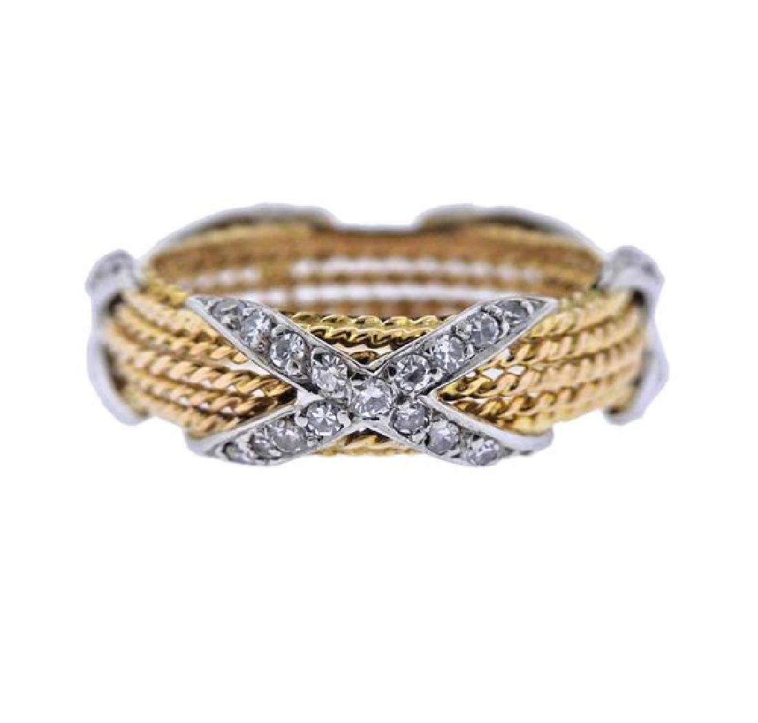 18k Gold Diamond X Rope Band Ring