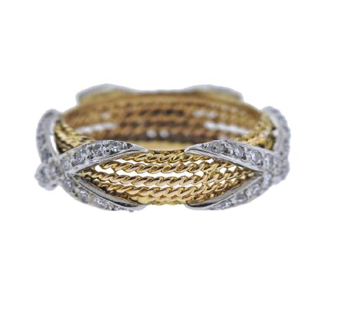 18k Gold Diamond X Rope Band Ring - 2
