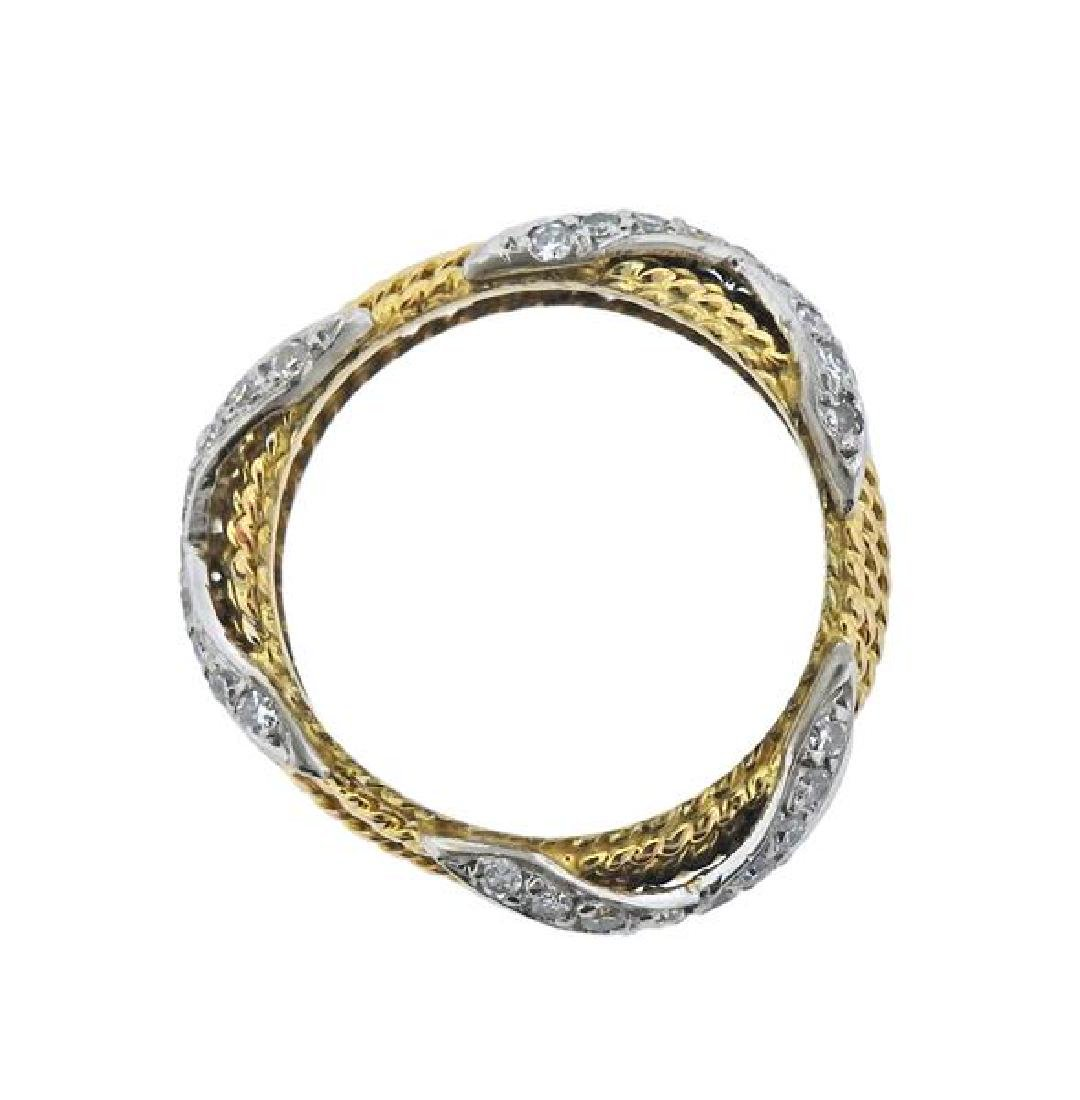 18k Gold Diamond X Rope Band Ring - 3