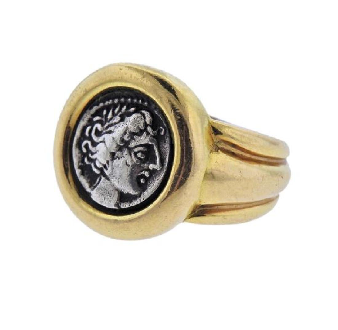 18K Gold Silver Coin Ring - 2