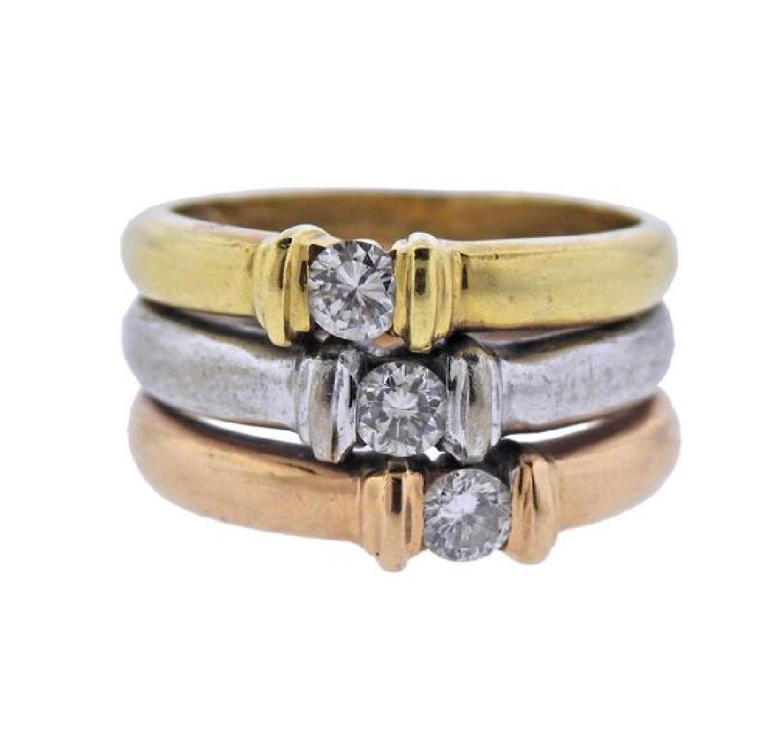 18K Tri Color Gold Diamond Band Ring