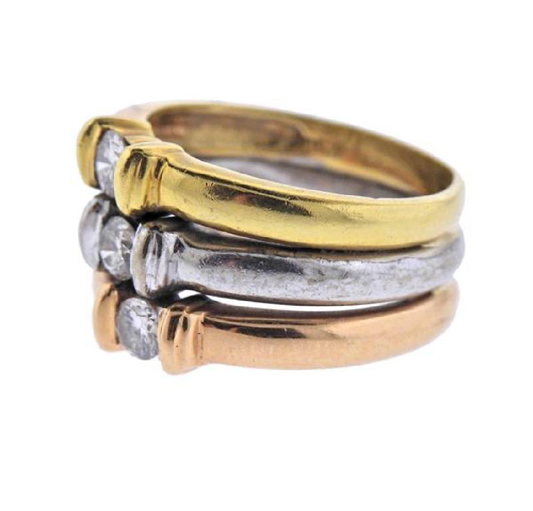 18K Tri Color Gold Diamond Band Ring - 2