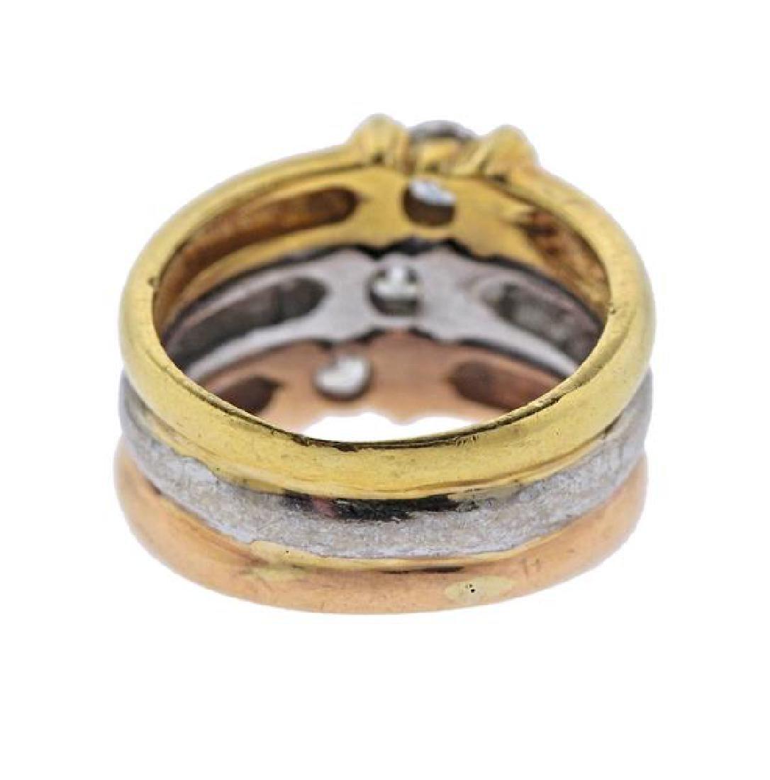 18K Tri Color Gold Diamond Band Ring - 3