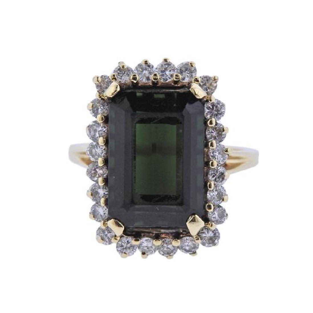 14k Gold Green Tourmaline Diamond Ring