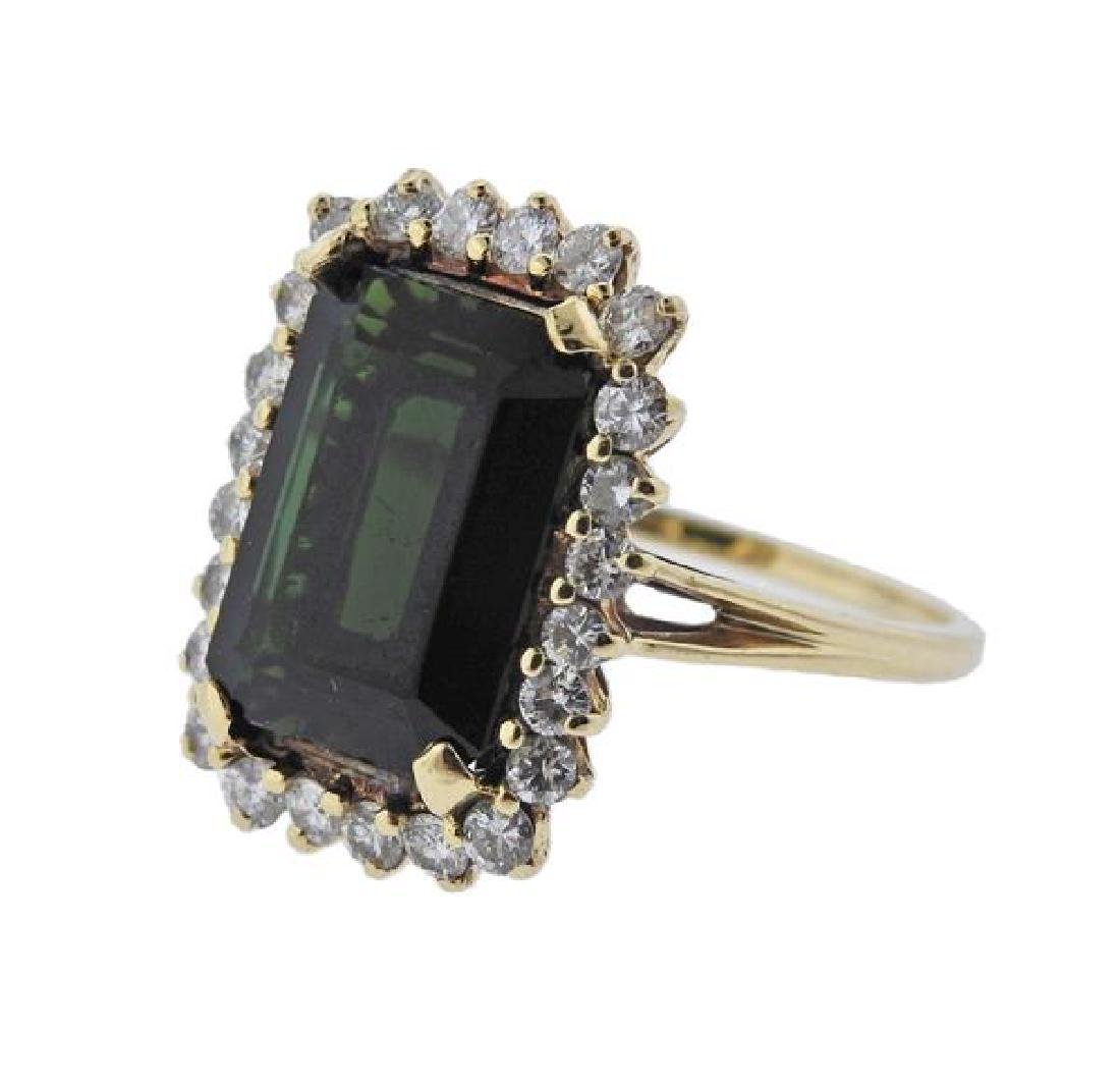 14k Gold Green Tourmaline Diamond Ring - 2