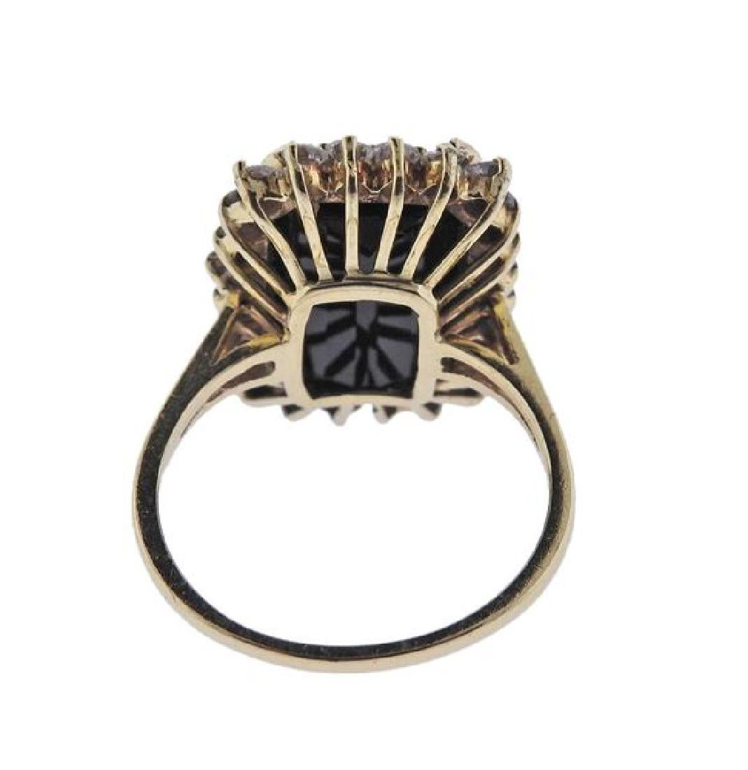 14k Gold Green Tourmaline Diamond Ring - 3