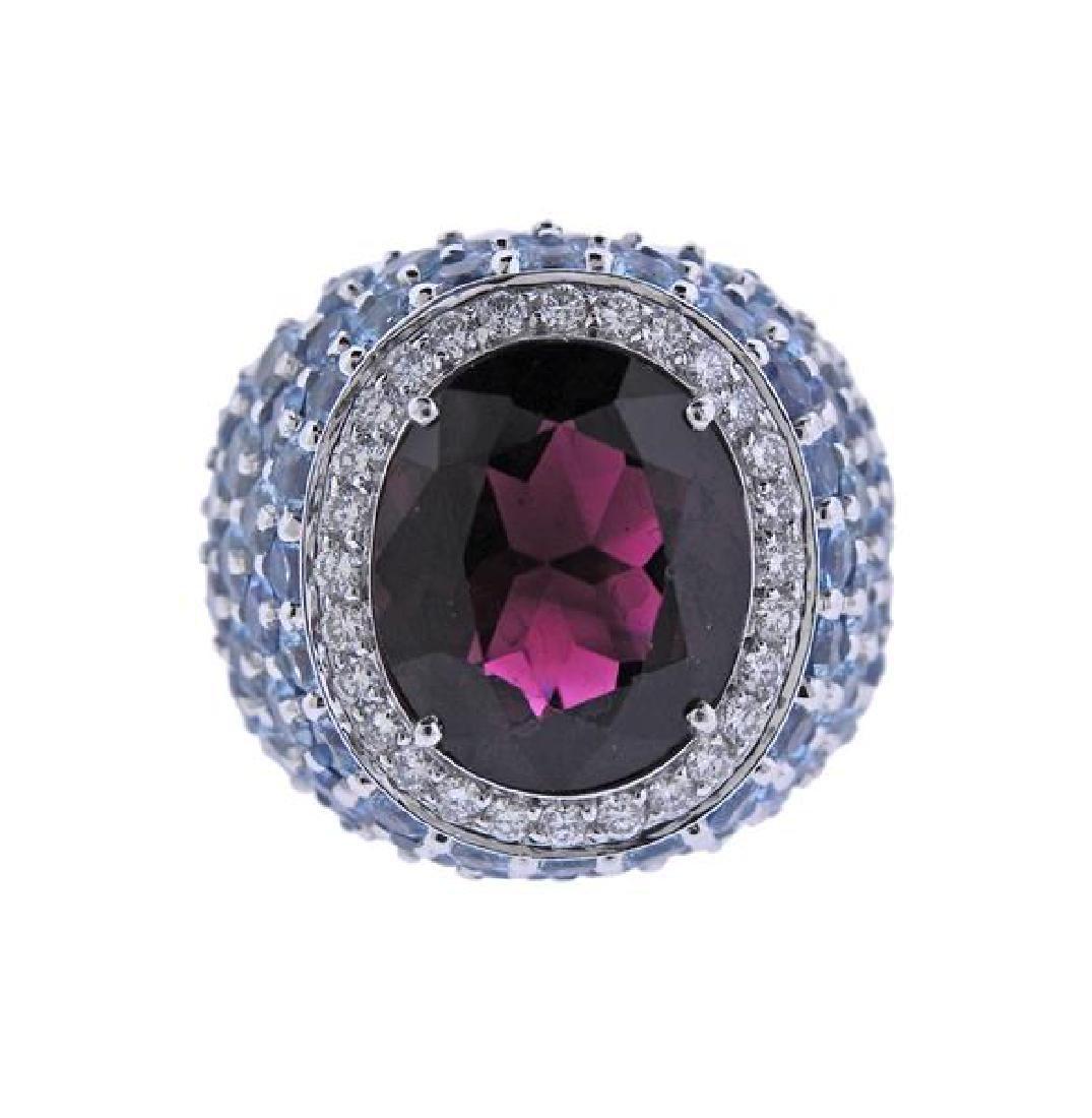 18k Gold Tourmaline Topaz Diamond Cocktail Ring