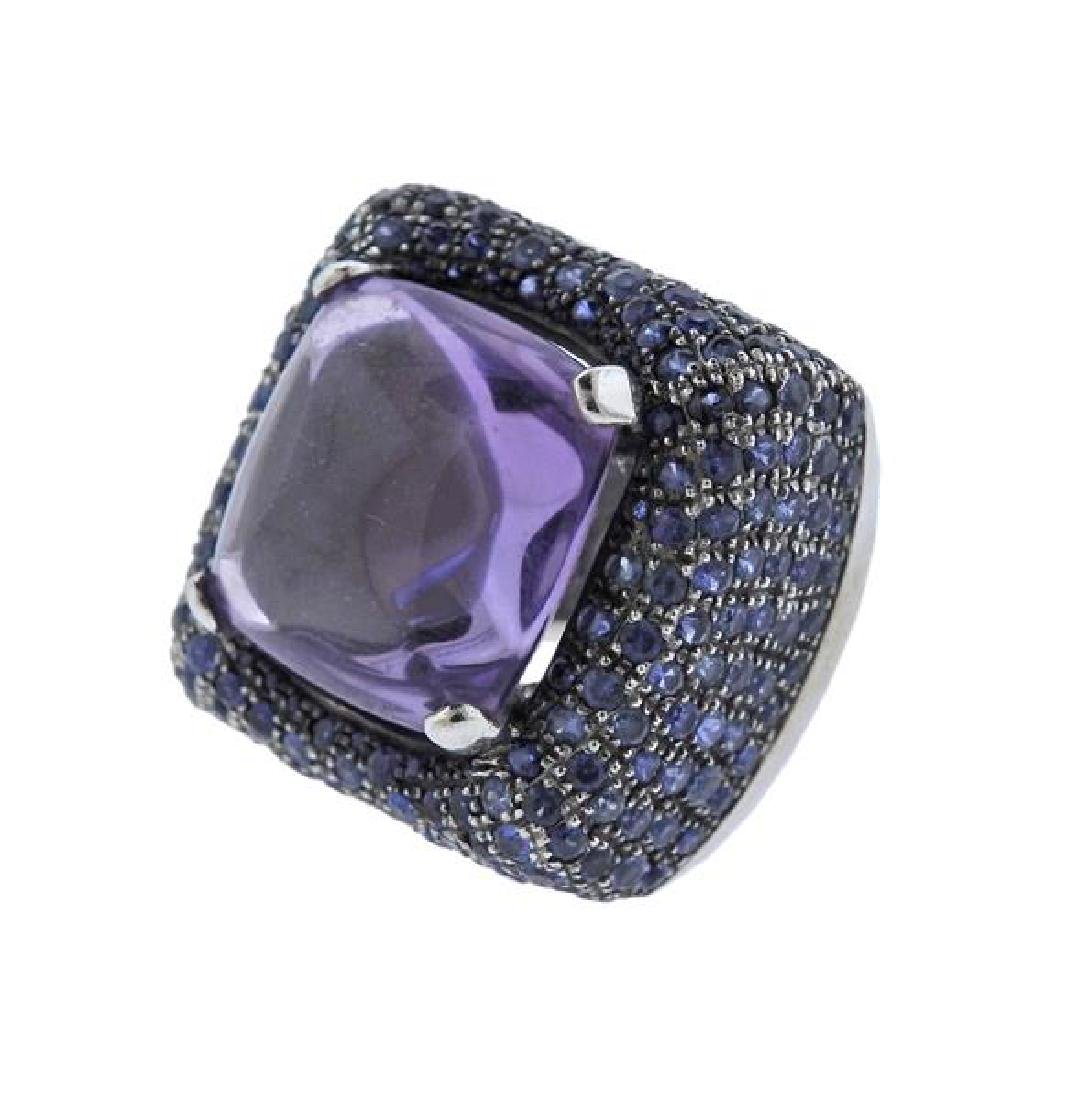 Pesavento 18k Gold Amethyst Sapphire Cocktail Ring - 2