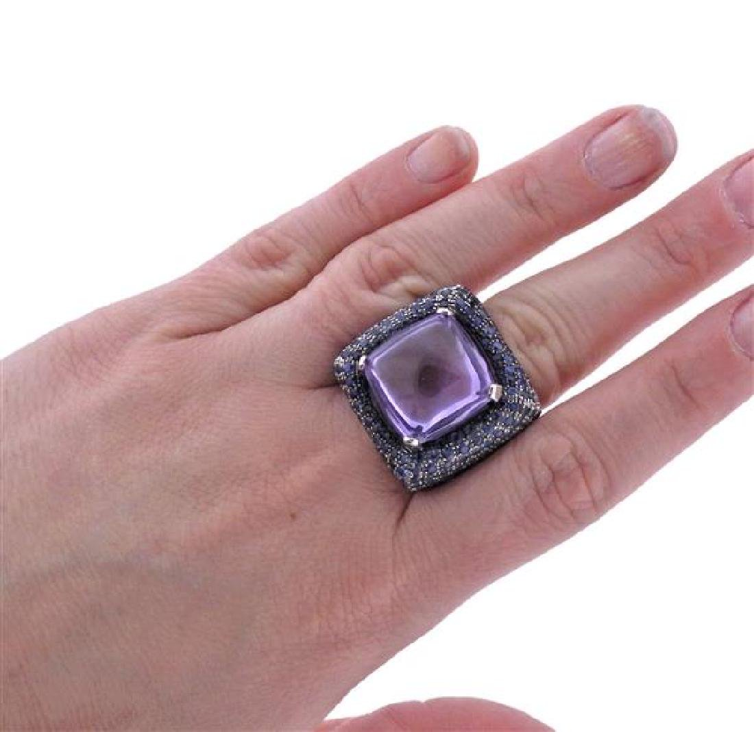 Pesavento 18k Gold Amethyst Sapphire Cocktail Ring - 4