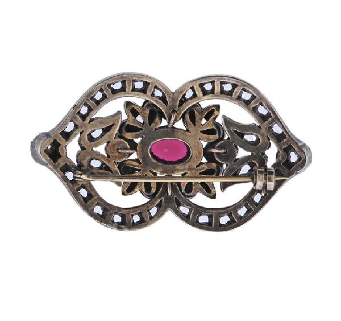 14k Gold Silver Color Brooch Pin - 3
