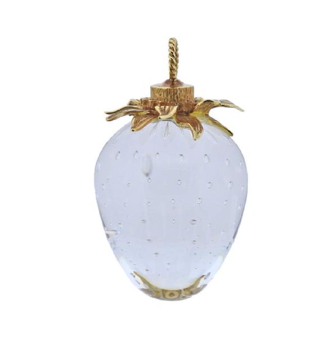 Steuben 18k Gold Glass Strawberry Pendant