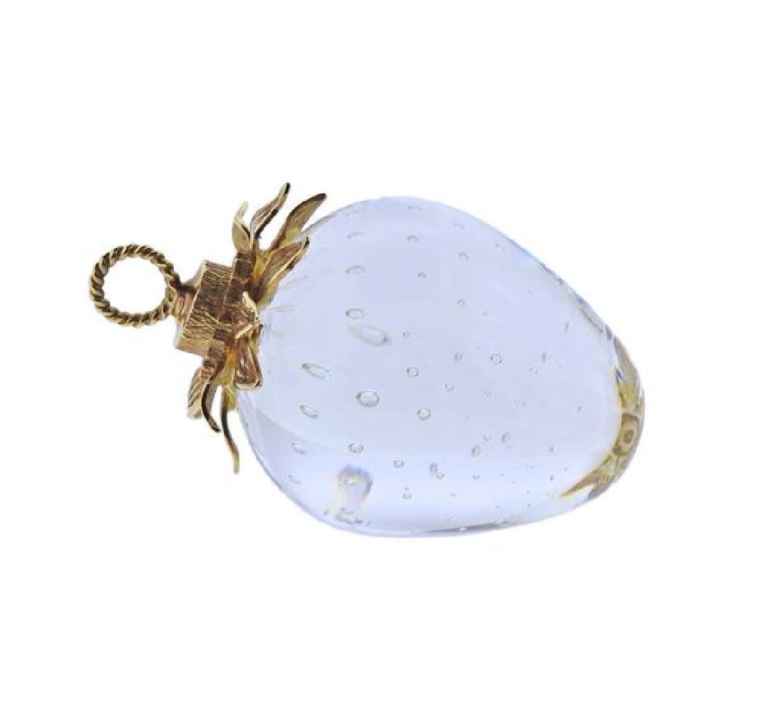 Steuben 18k Gold Glass Strawberry Pendant - 2