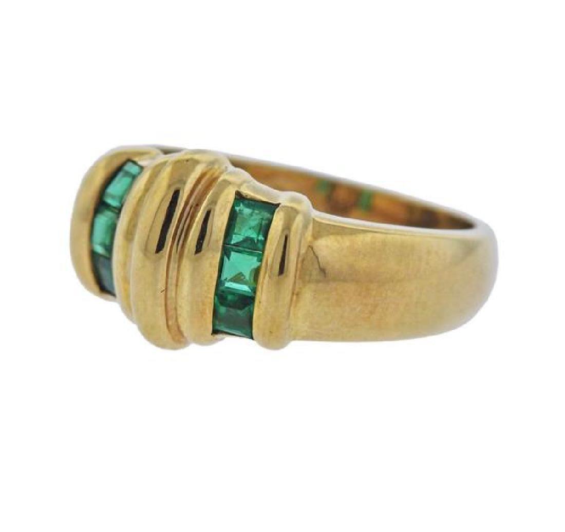 18k Gold Green Stone Ring - 2