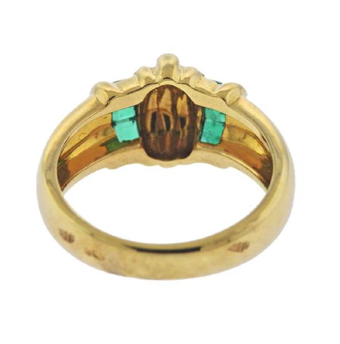 18k Gold Green Stone Ring - 3