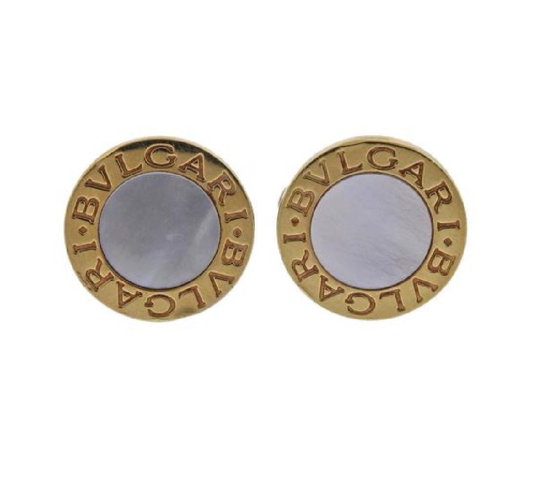 Bvlgari Bulgari Mother of Pearl 18k Gold Cufflinks