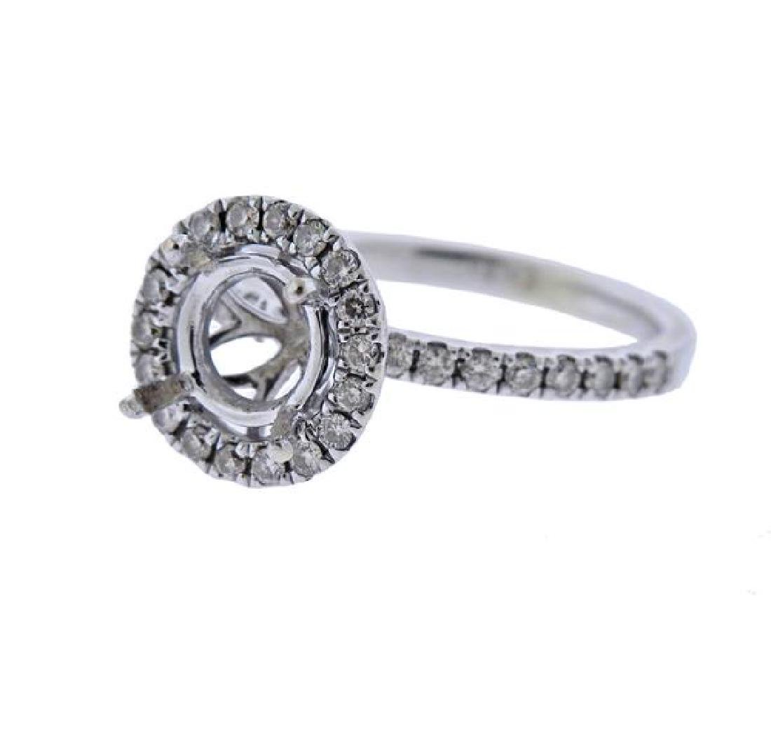 14k Gold Diamond Halo Engagement Ring Setting - 2