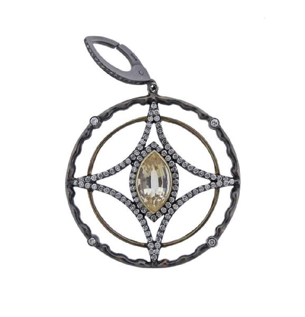 18K Gold Silver Diamond Yellow Stone Circle Pendant