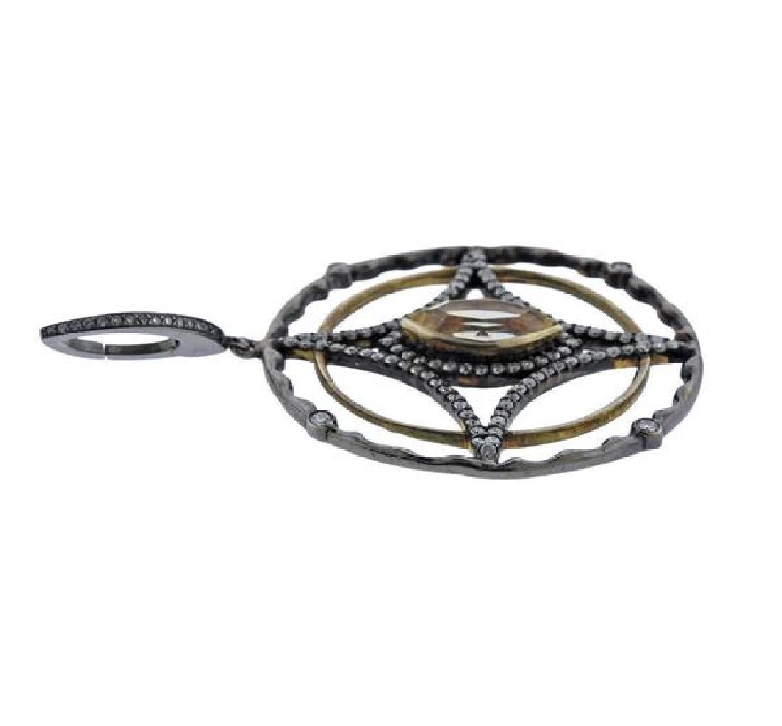 18K Gold Silver Diamond Yellow Stone Circle Pendant - 2