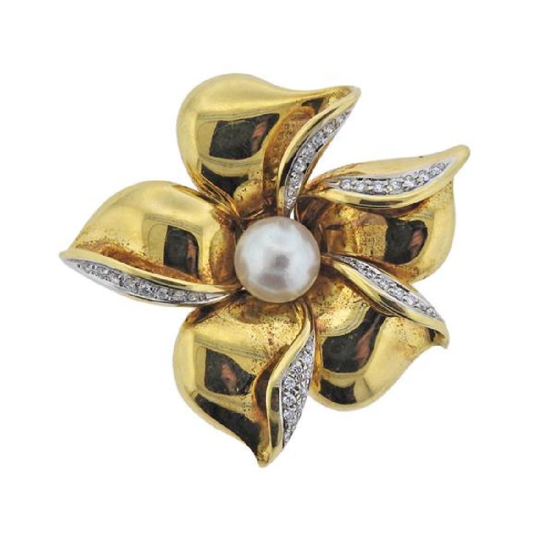 Asayo 18K Gold Diamond Pearl Flower Brooch