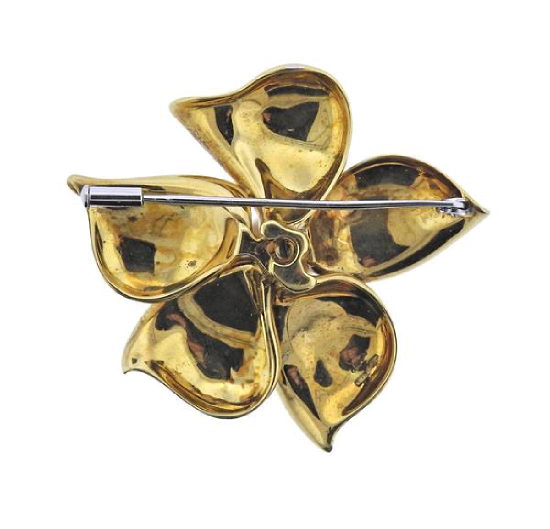 Asayo 18K Gold Diamond Pearl Flower Brooch - 3