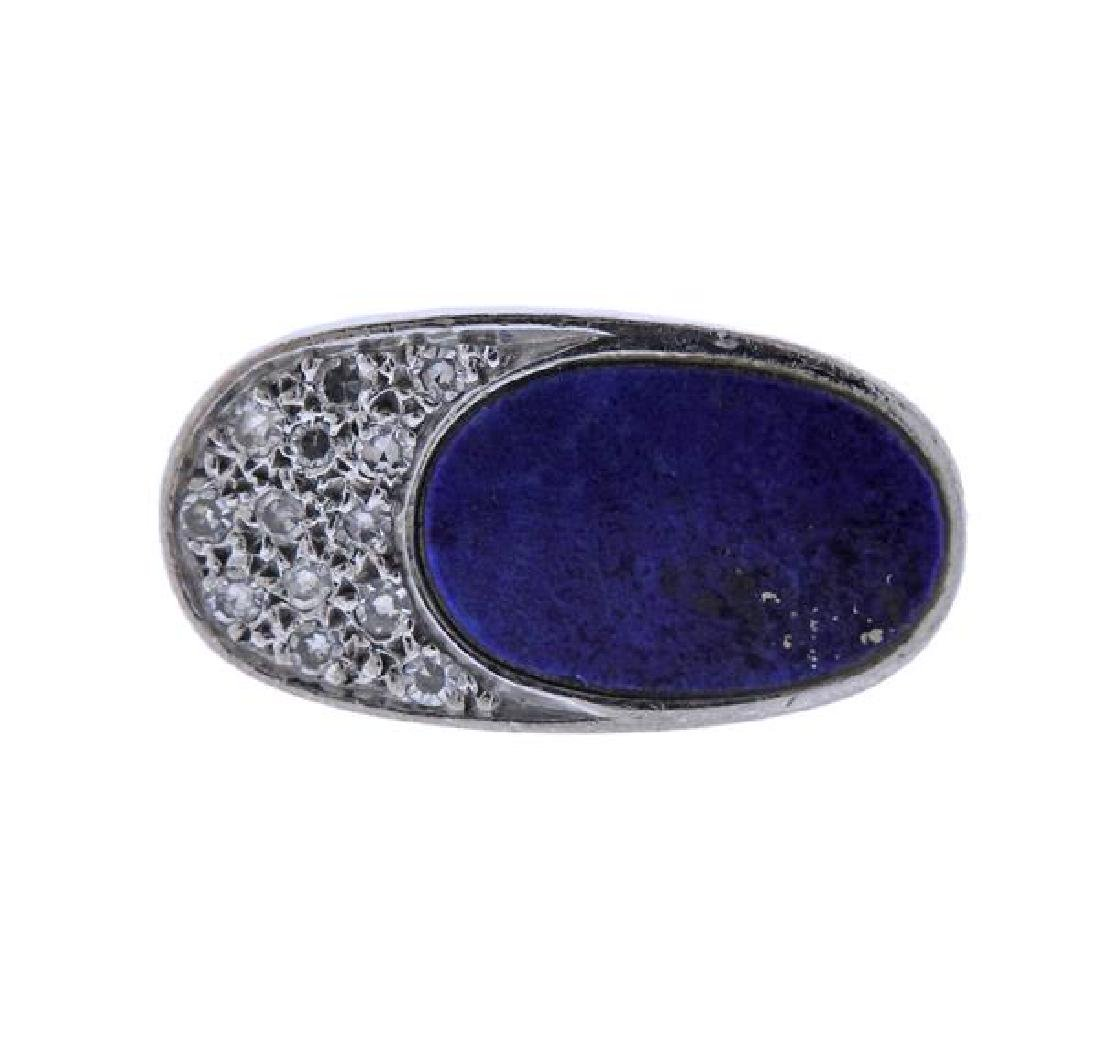18K Gold Diamond Lapis Ring