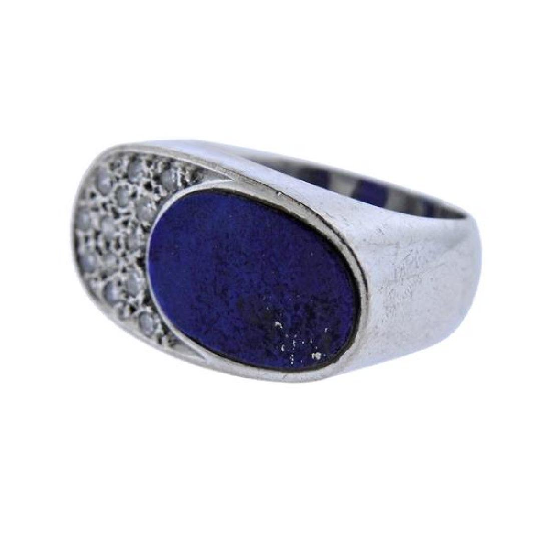 18K Gold Diamond Lapis Ring - 2