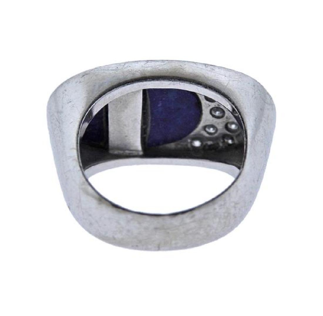 18K Gold Diamond Lapis Ring - 3