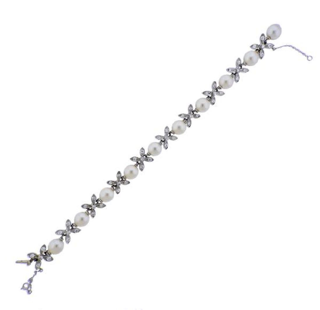 Sterle Paris 18K Gold Diamond Pearl Bracelet