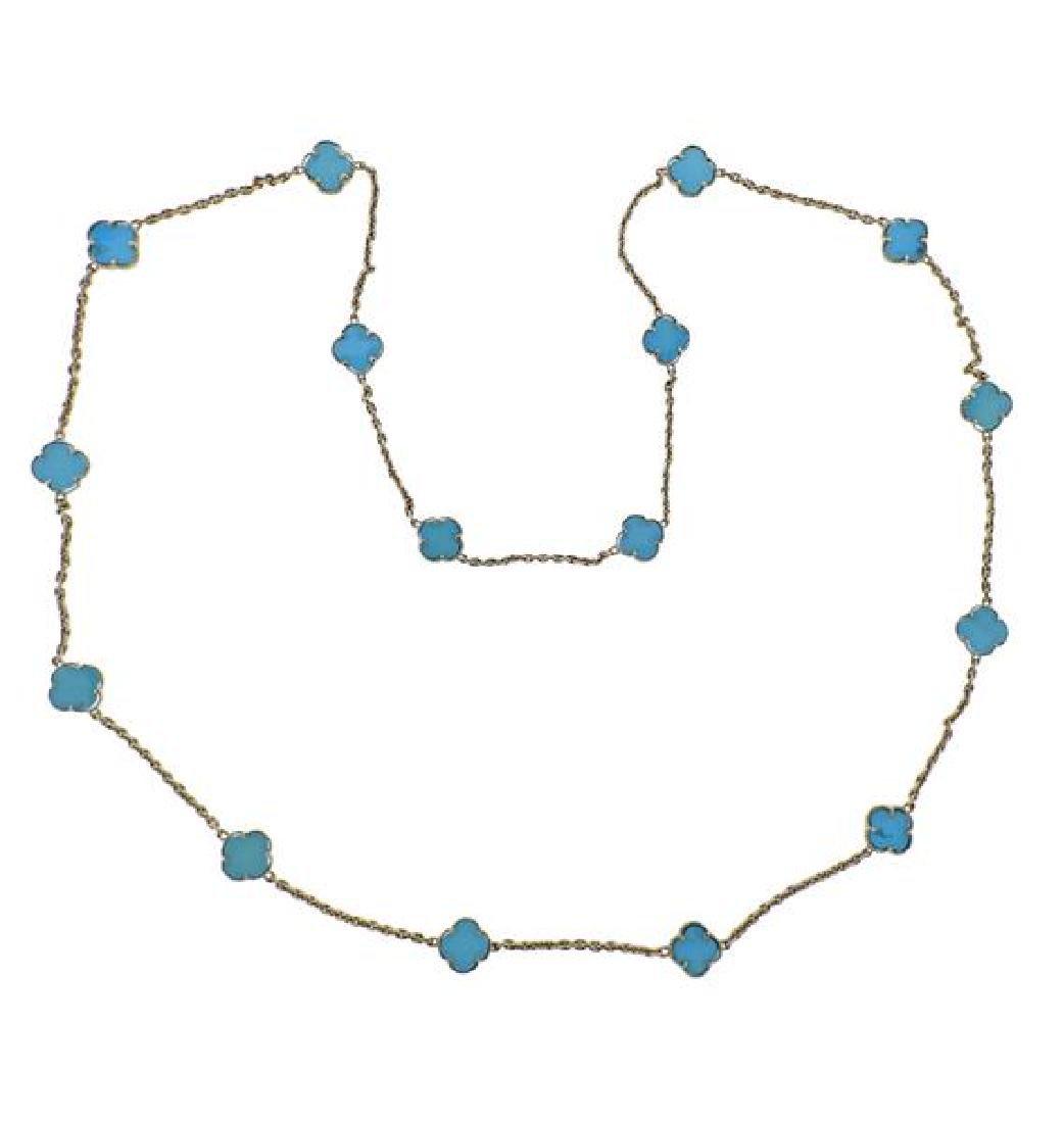 14K Gold Blue Stone Station Necklace