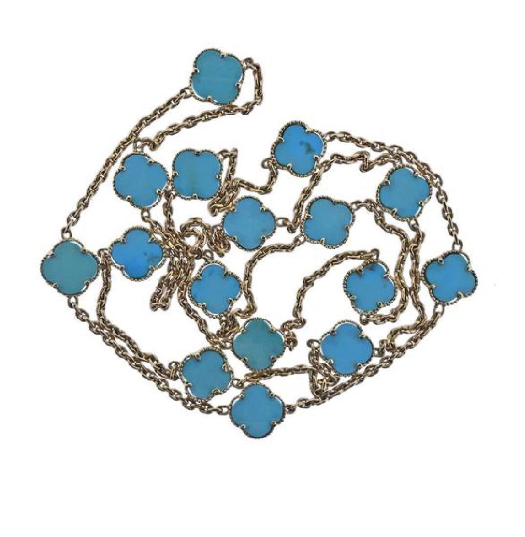 14K Gold Blue Stone Station Necklace - 2