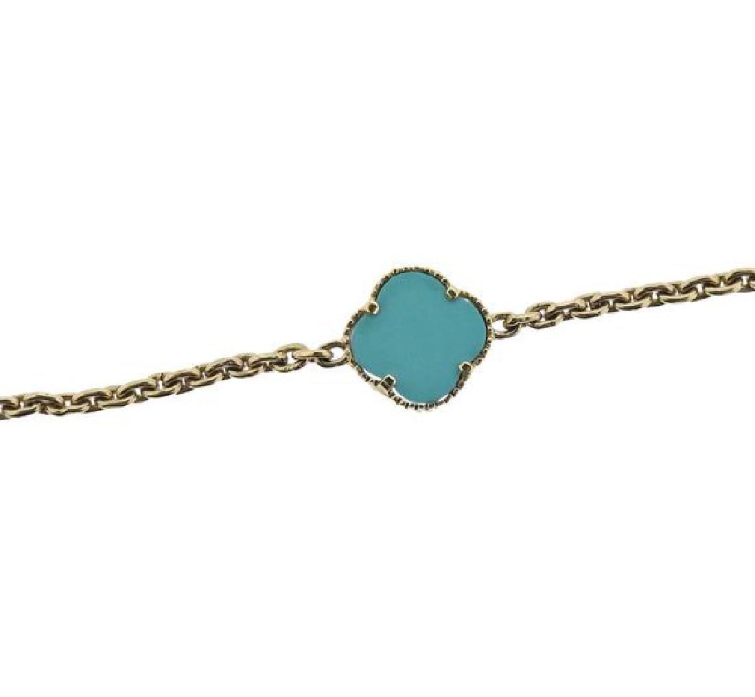 14K Gold Blue Stone Station Necklace - 3