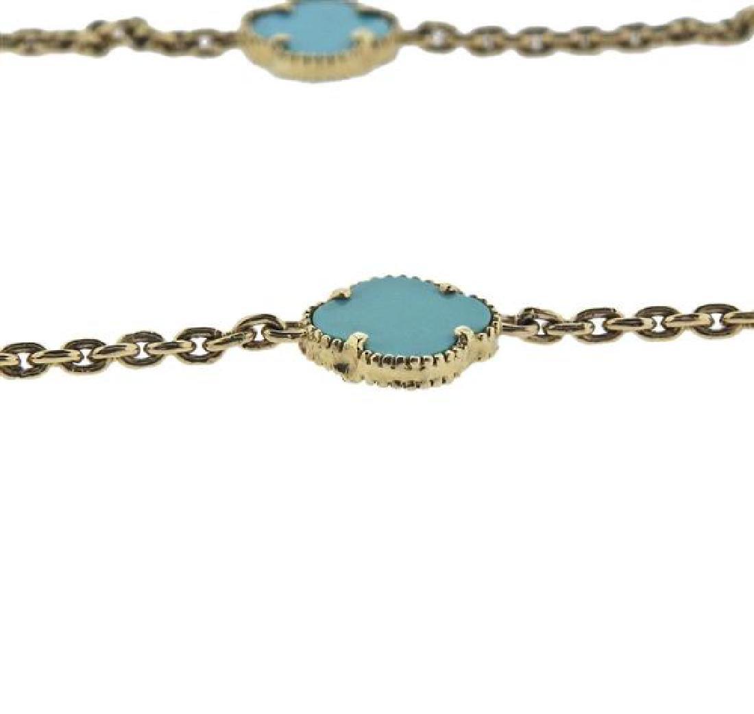 14K Gold Blue Stone Station Necklace - 4