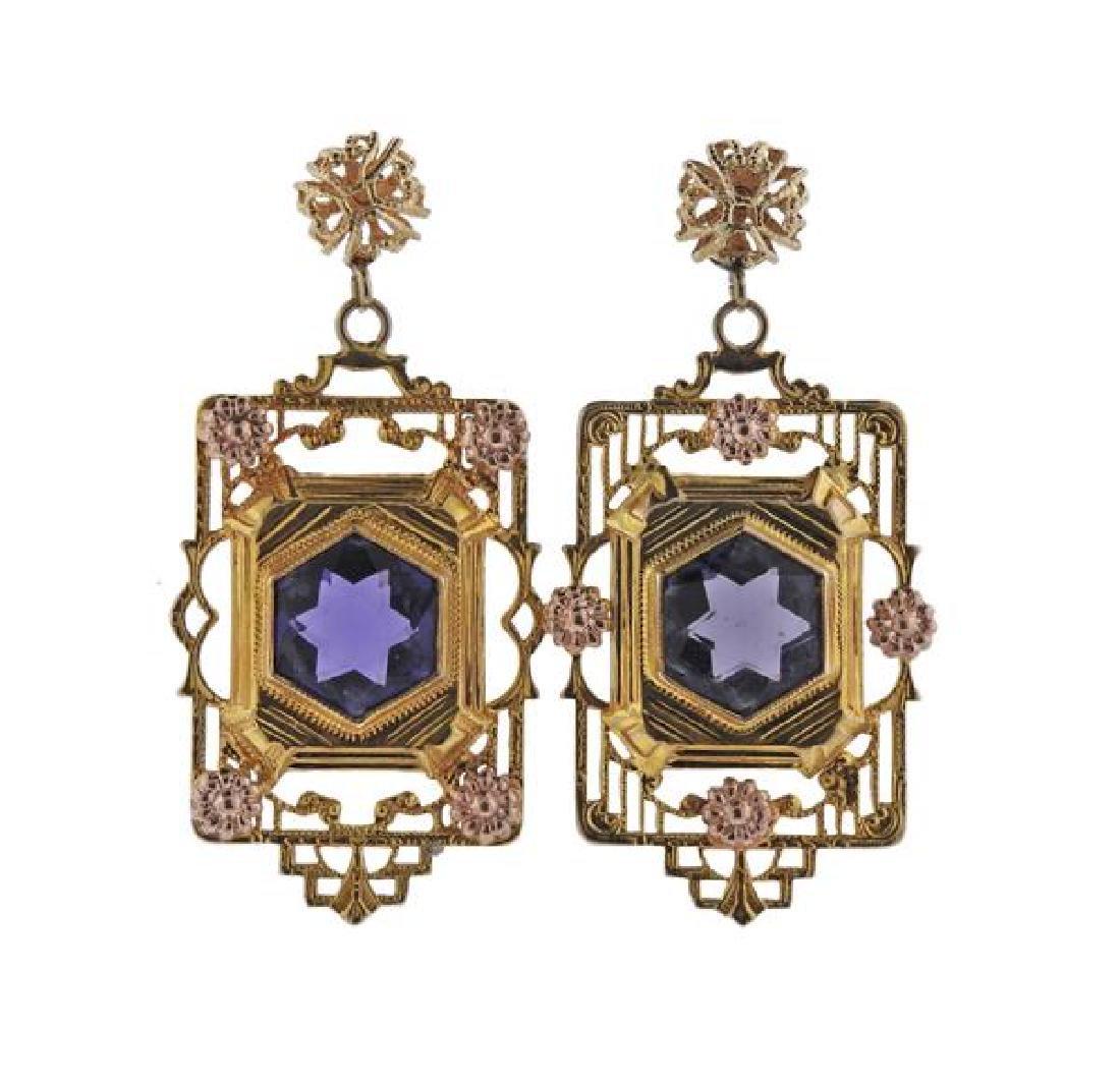 14K Gold Purple Stone Earrings