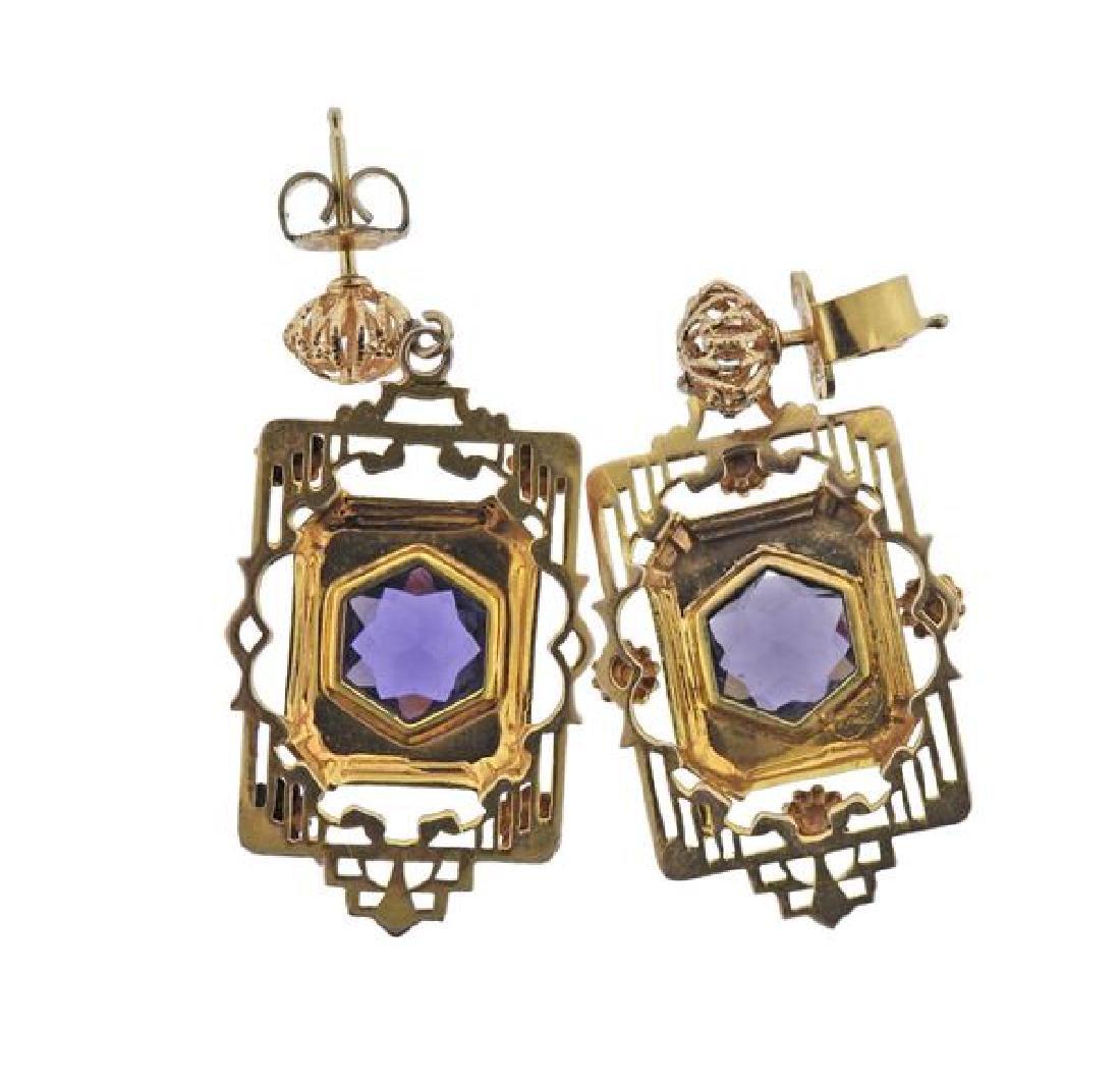14K Gold Purple Stone Earrings - 2