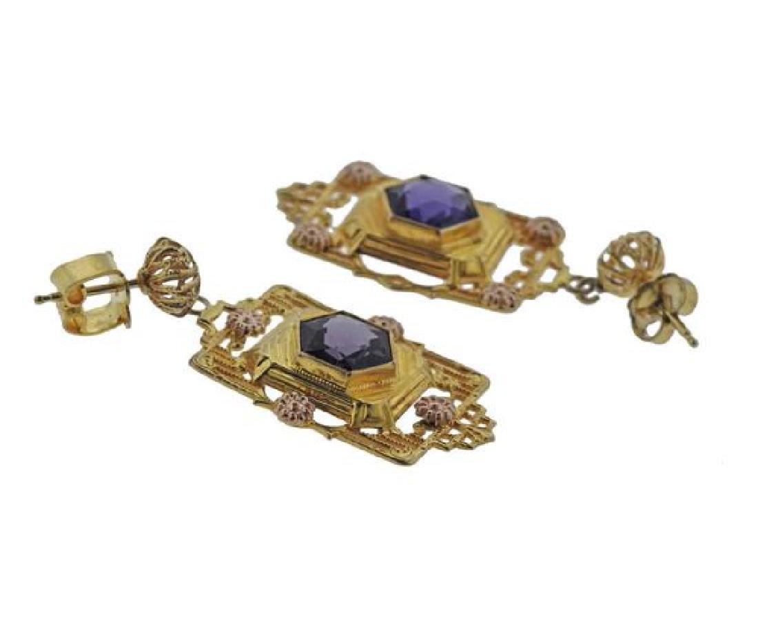 14K Gold Purple Stone Earrings - 3