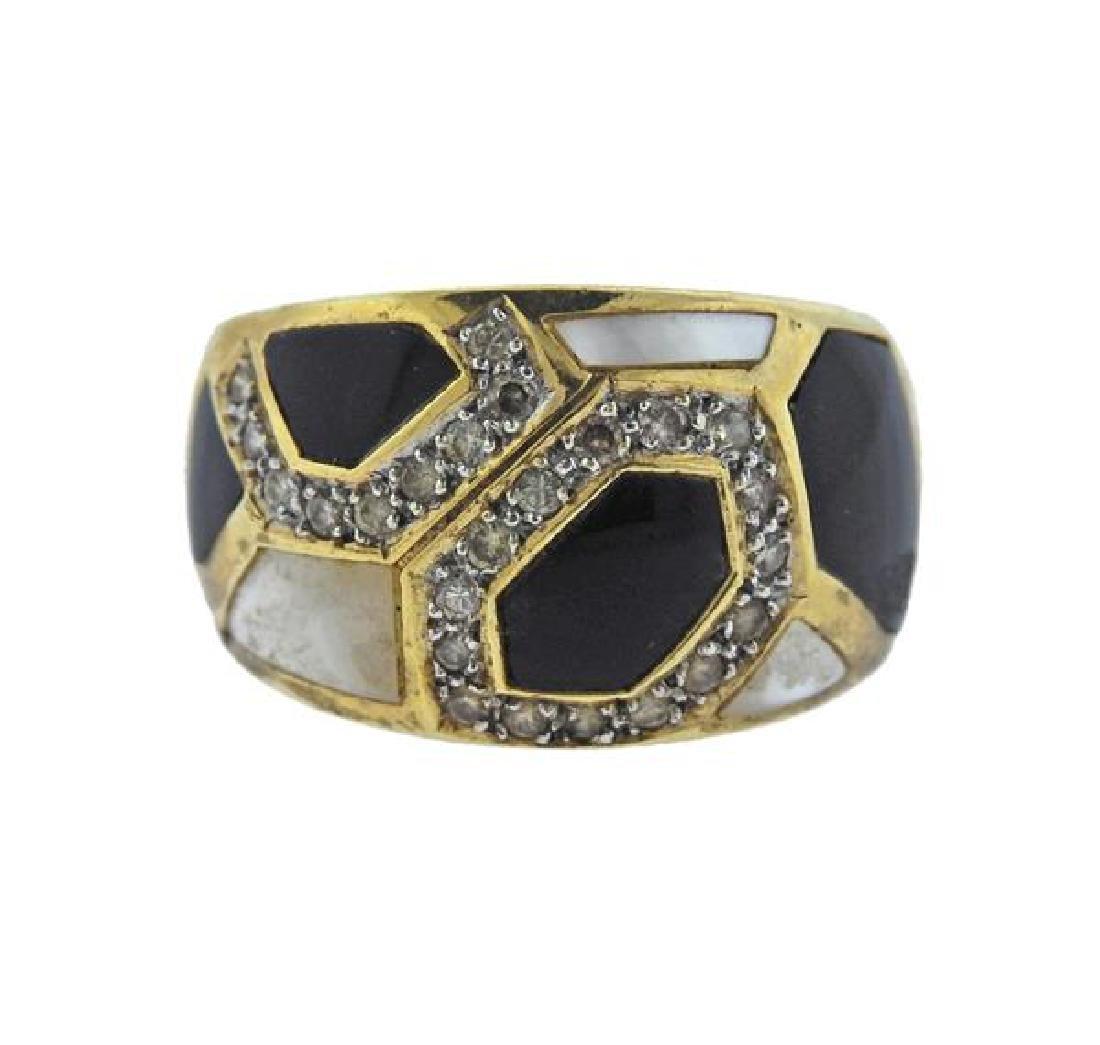 14K Gold Diamond Opal MOP Band Ring