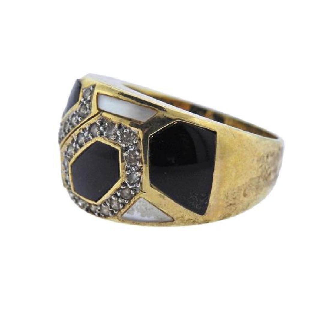 14K Gold Diamond Opal MOP Band Ring - 2