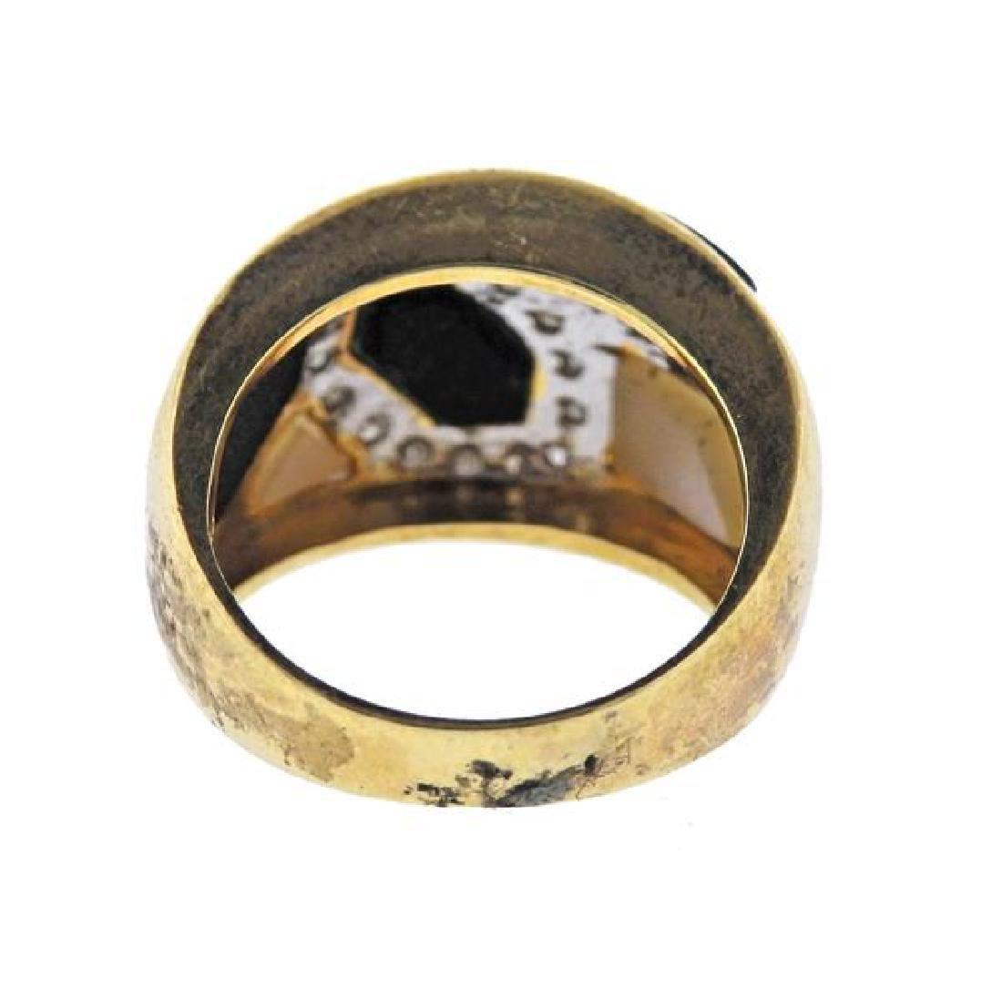 14K Gold Diamond Opal MOP Band Ring - 3