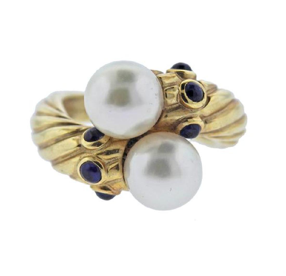 14K Gold Pearl Sapphire Bypass Ring